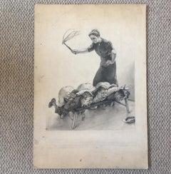 A Monochrome Watercolour Corporal Punishment Circa 1920
