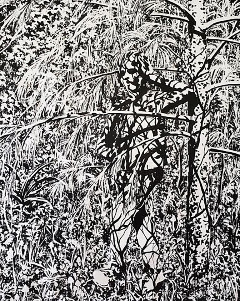 Watcher is a large-scale ink on paper artwork rendered from memory or imagination, without the use of photo reference, by American-born, New York-based artist Tom Costa.   Dimensions: 59 x 48 in.    Artist's Statement:  I grew up in the foothills of