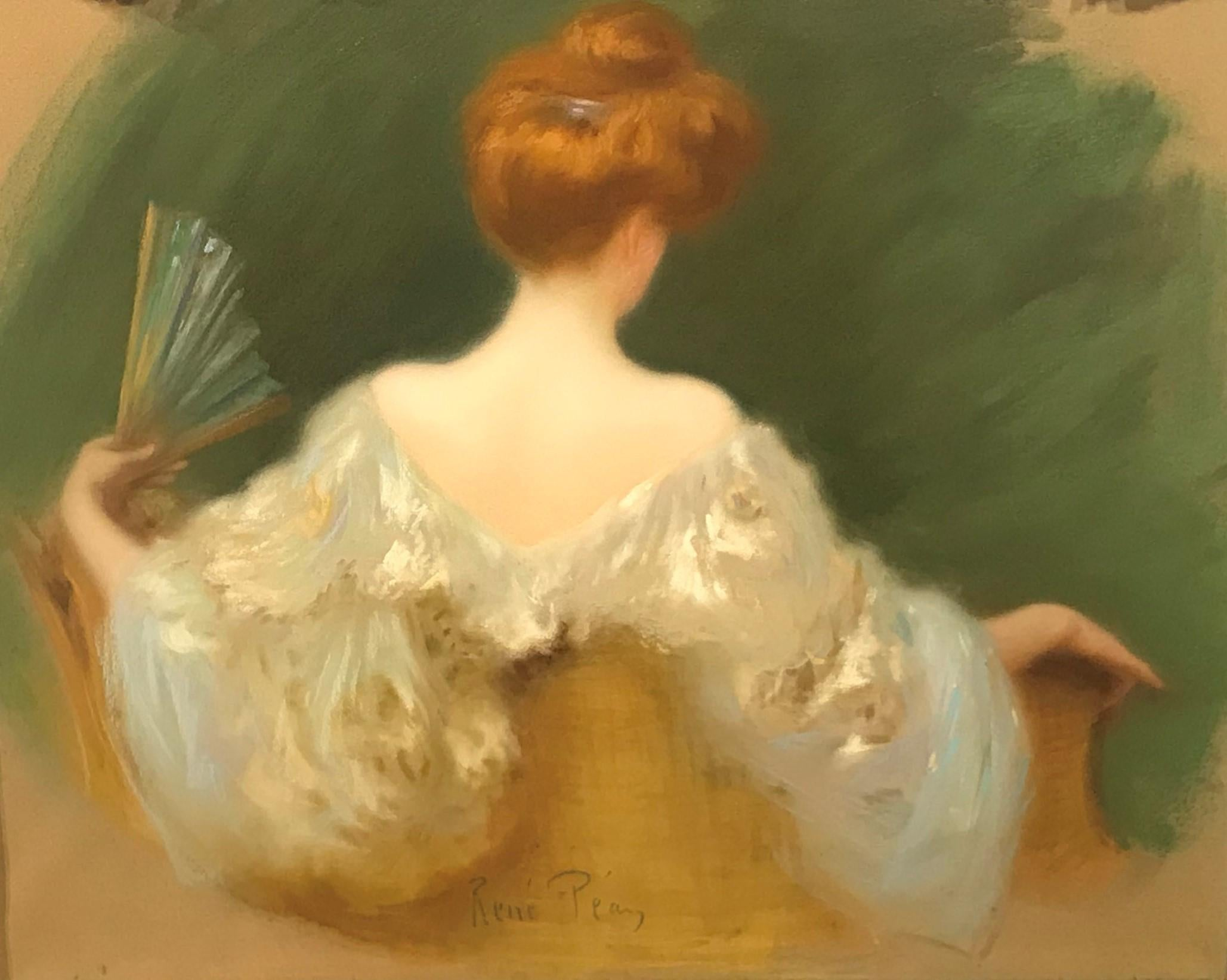 French Pastel Portrait of the Artist's Wife with a Fan, Rene Pean, c. 1920s