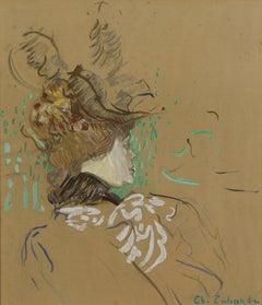 Tete de Femme (Head of a Woman), Gouache, Crayon, Watercolor by Charles Laborde