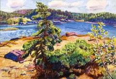 American Modernist Watercolor, Maine Landscape, c. 1920