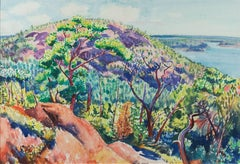 American Modernist watercolor, Maine subject, View Toward the Water, c. 1920