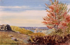 19th Century Watercolor, View of Lyme, Connecticut, 1863