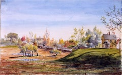 19th Century Watercolor, New England Landscape with Houses, 1862