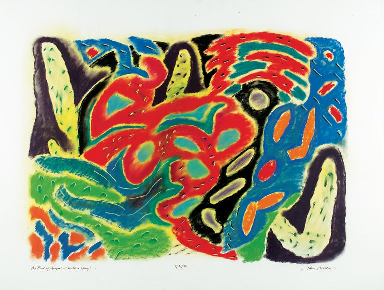 Alan Gussow Abstract Drawing - The End of August - with a Bang!
