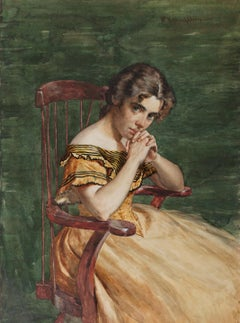 The Question, Early 20th Century Watercolor, Seated Girl