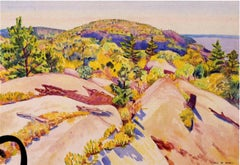 American Modernist watercolor, Maine, Cleft Rocks and Hills, Carl Cutler c. 1920