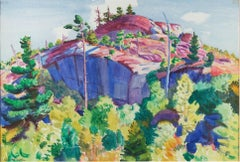 American Modernist watercolor, Maine, Hill Top, by Carl Cutler, c. 1920
