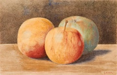 Pre-Raphaelite Watercolor by John William Hill, Three Apples, c. 1867
