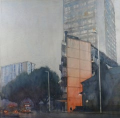 Morning Light - illustrative cityscape tower architecture watercolour on paper