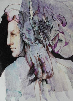 Jacob's Ladder -contemporary purple and black portrait ink and watercolor