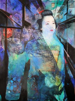 Maiko, Gion Corner -contemporary blue and black portrait ink and watercolor