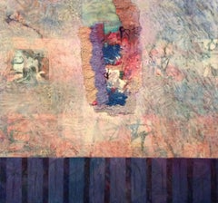 Sconia -contemporary abstract pink and purple mixed media on canvas