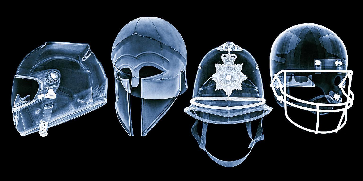 Skulls -contemporary black and blue helmet inkjet print on paper