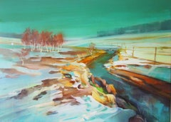 Winter land III- contemporary acrylic winter landscape painting on canvas