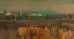 Land with birch I - contemporary acrylic landscape painting on canvas