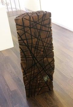 Cracked Block - Wood sculpture, Scorched Devon Douglas Fir