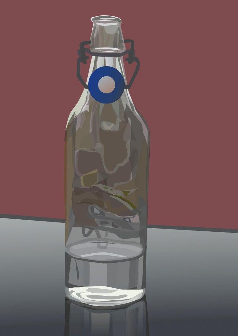 Adrian Marden Still-Life Print - Bottled Water- Contemporary Eco Pop art, digital print on paper