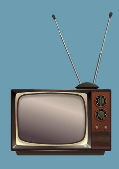 Black and White TV- Contemporary Eco Pop art, digital print on paper