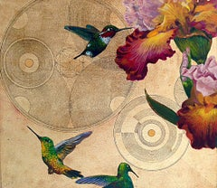 Oro 23 - collaborative work, decorative mixed media with gold, birds and flowers