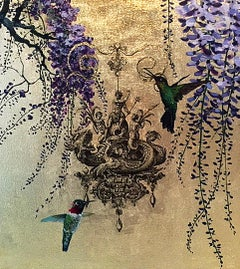 Oro 29 - collaborative work, decorative mixed media with gold, birds and flowers