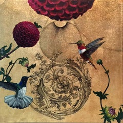 Oro 27 - collaborative work, decorative mixed media with gold, birds and flowers