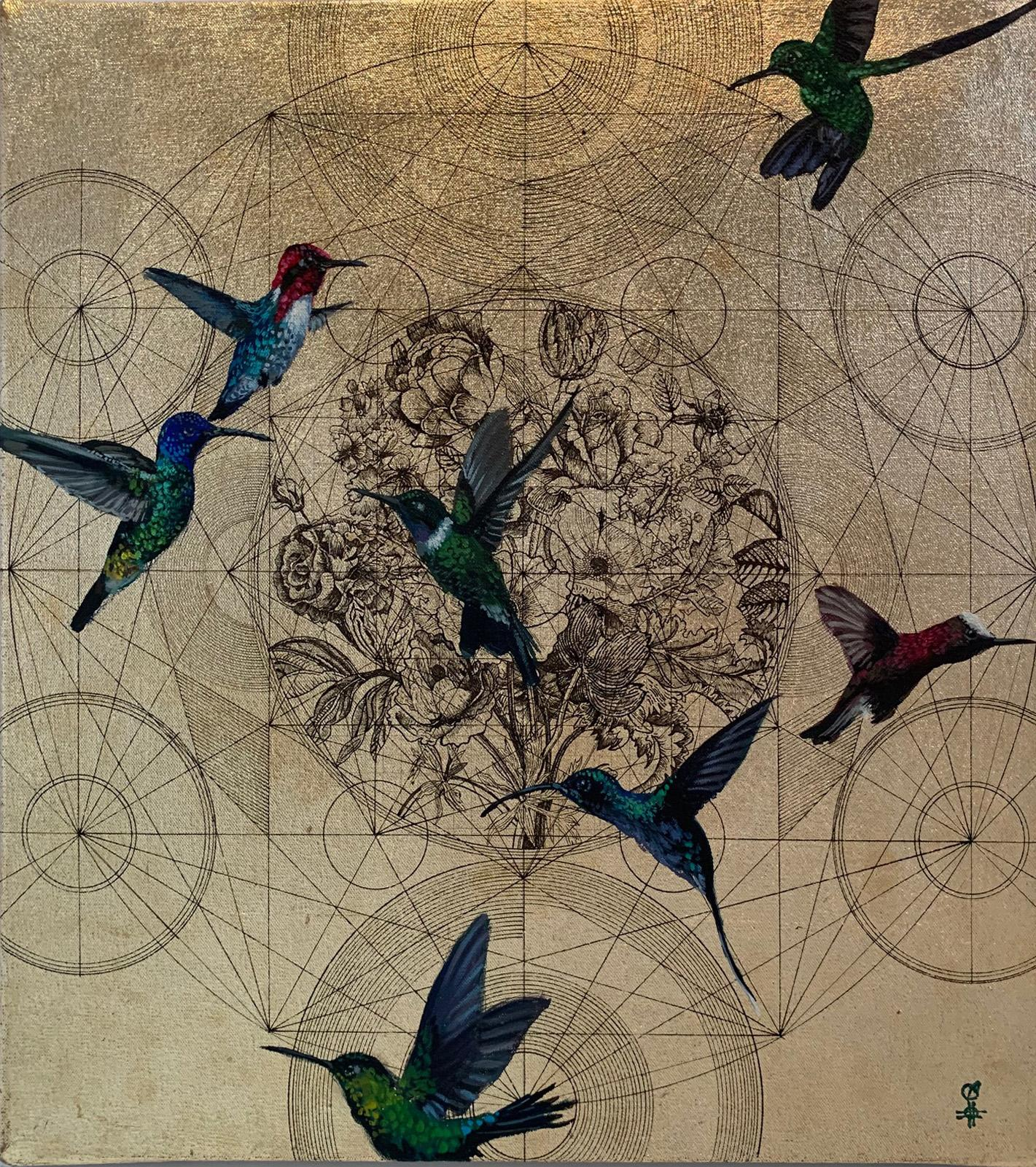 Oro 35 - collaborative work, decorative mixed media with gold, birds and flowers