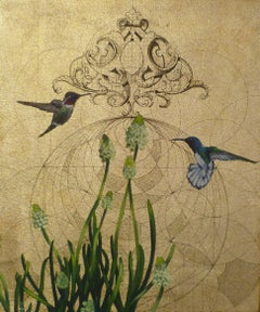 Oro 38 - collaborative work, decorative mixed media with gold, birds and flowers