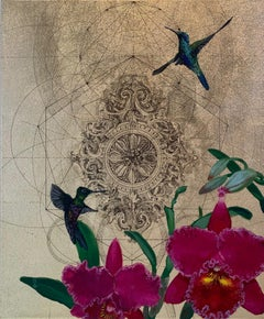 Oro 39 - collaborative work, decorative mixed media with gold, birds and flowers