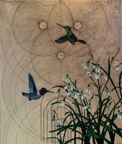 Oro 41 - collaborative work, decorative mixed media with gold, birds and flowers