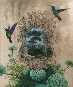 Oro 42 - collaborative work, decorative mixed media with gold, birds and flowers