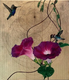 Oro 43 - collaborative work, decorative mixed media with gold, birds and flowers
