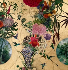 Zanadu Oro - collaborative, decorative mixed media, gold, birds and flowers