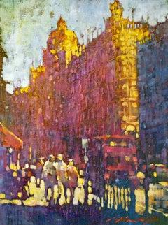 Summer Haze - contemporary impressionist London cityscape bright light colourful