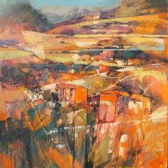Red Bricks - contemporary orange summer Tuscany Italian landscape oil painting