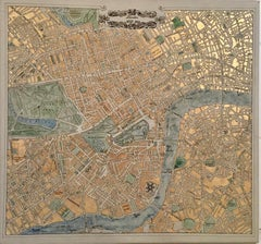 London 1862 - contemporary painting ink gilding acrylic London map historic