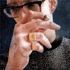 Justin - contemporary hyper-realistic portrait close up glasses oil canvas