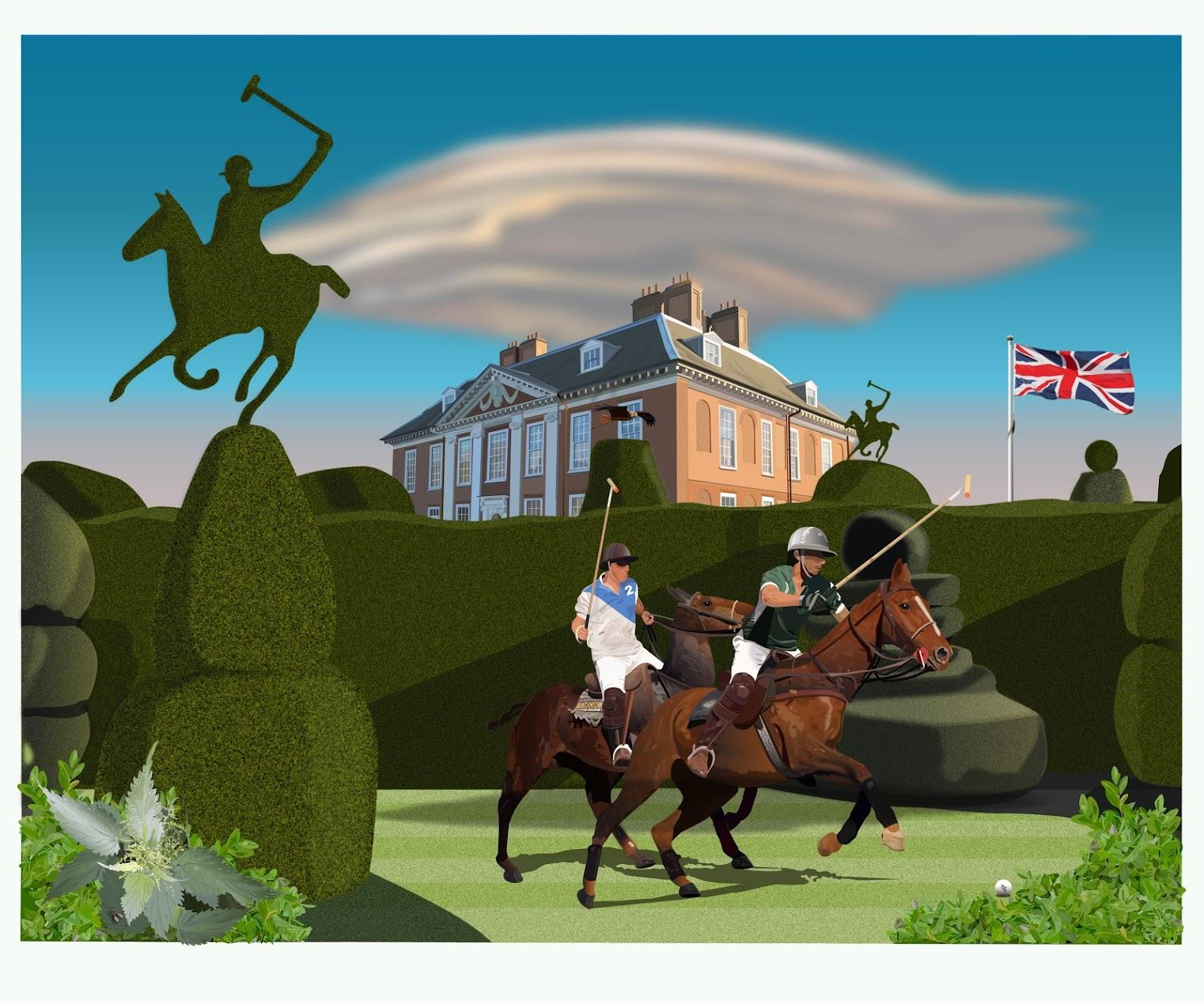 The Ruralist vs Polo - Contemporary Digital Print Drawing Collage framed