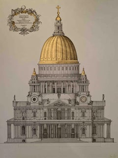 St. Paul's Cathedral Elevation - architecture front view detailed ink drawing