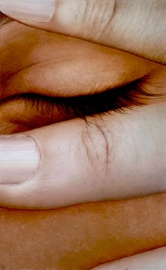 Covered - hyper-realism face close up finger closed eye lashes detail oil canvas