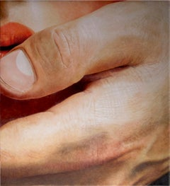 Touch 2 - photorealism close up lip hand thumb detail oil canvas