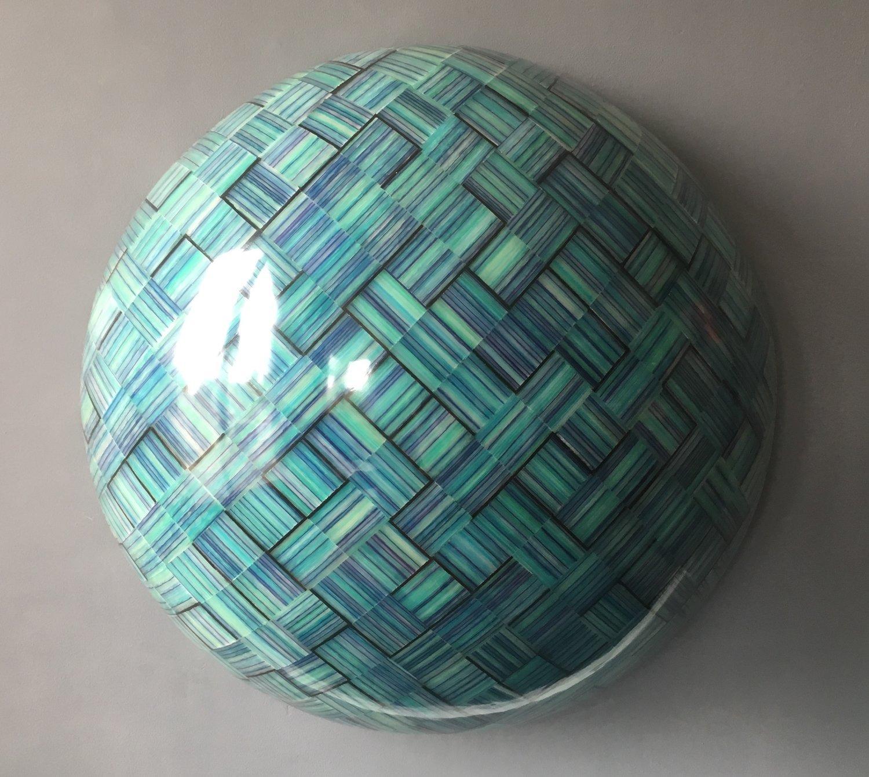 Orbitation in Blue - contemporary polypropylene luminous sculpture half sphere