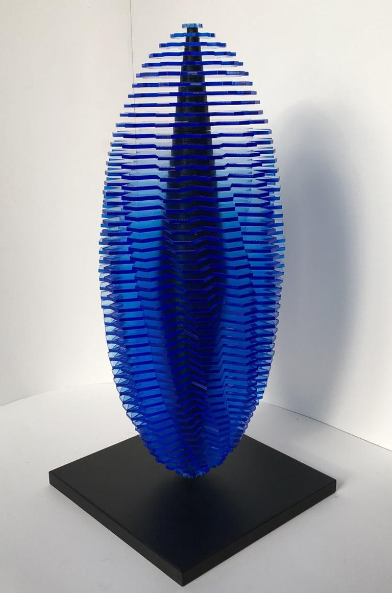Heliocentric Worlds - contemporary sculpture blue fluorescent acrylic sheets