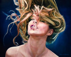 Horizon with Smile - photo-realist woman portrait hair oil canvas