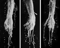 What's done and not done - black and white contemporary hands triptych drawing