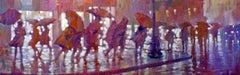 Umbrella Parade (Summer Shower) - contemporary impressionism figures umbrellas