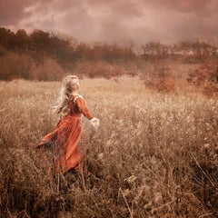Amber Days - contemporary photograph female fairy figure meadow nature