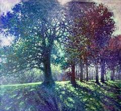 Hampstead Heath Afternoon Light - contemporary impressionism park trees oil