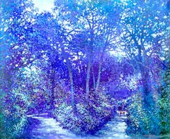 Bend in the Path - contemporary impressionist blue landscape tree park
