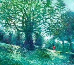 Up the Hill - contemporary impressionism green landscape trees park painting